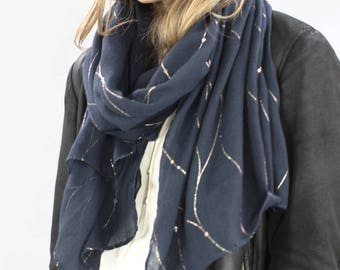 Midnight Blue And Gold Scarf