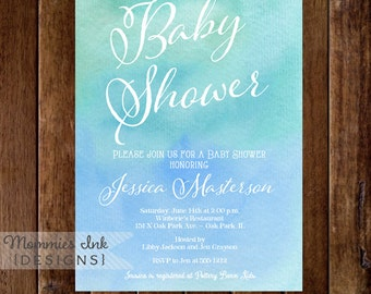 Baby shower Invitation, Watercolor Baby Shower Invitation, Blue and Teal Ombre, Watercolor Shower Invitation, Printable Invitation Design