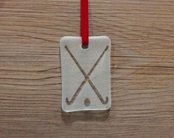 Field Hockey Fused Glass Christmas Ornament/Sun Catcher; Sports