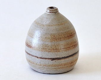 Mid Century Modern Pottery Small  Beige & Brown Weed Pot Vase
