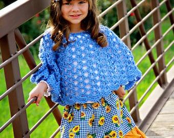 Girls poncho - spring poncho - child poncho - girls crochet shawl - spring sweater - girls shawl - hand crochet shawl - crochet caplet -