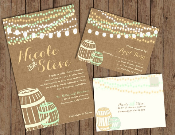 String Lights and Wine Barrel Wedding Invitations Burlap and