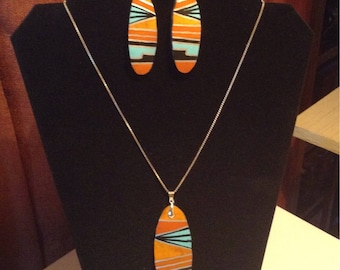 Acoma gourd necklace and earring set