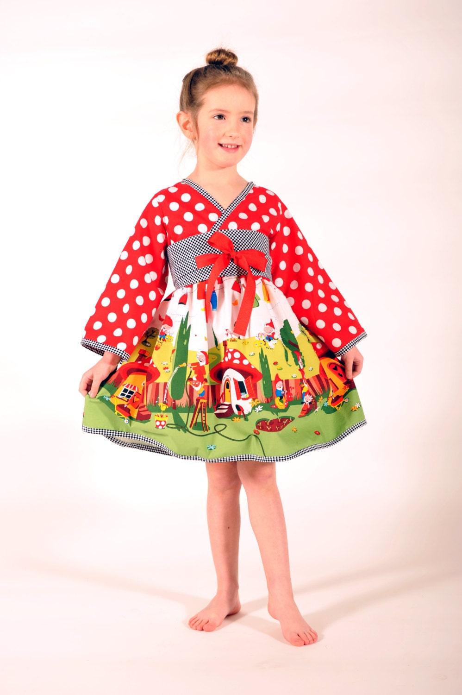 Gnomeville Kimono Kleid Weihnachten Kleid Mädchen Kleider