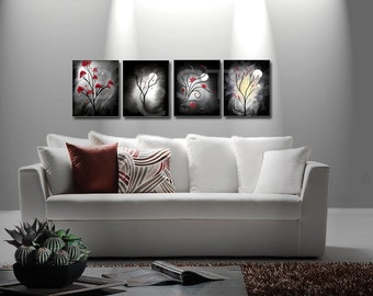 DREAMS. Black white and Red Art. Abstract Landscape Art Prints. Set of Four Prints. Free Shipping inside US.