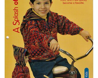A Splash of Red Sweater/Jacket  Just for Kids Knit pattern  House of White Birches 127106