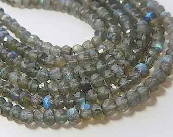 Labradorite Gemstone Faceted  Rondelles, 4 to 5mm Semi Precious Gemstone Rondelle. Select Length (1lab)