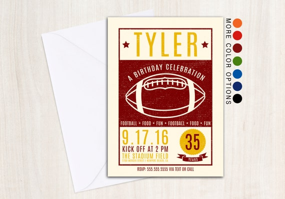 Vintage Football Invite - Football Poster Invitation - Tailgate Party Supplies