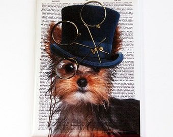 Yorkie Magnet, Fridge magnet, Kitchen magnet, Magnet, ACEO, stocking stuffer, Dog, Yorkie, Steampunk, Dog Magnet (4810)