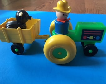 Fisher Price Little People  1980s Green Tractor Farmer and Piggy