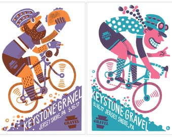 BOTH Keystone Gravel screenprinted posters (Him and Her)
