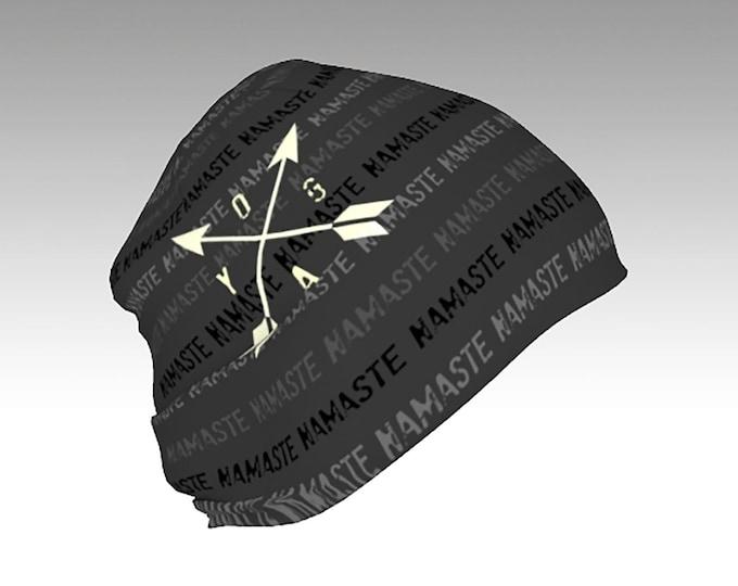 Gray Slouchy Beanie, YOGA, NAMASTE, printed Slouchy Beanie Cap, Warm Slouchy Cap, Beanies, Adult and Kids Beanies, Winter Hats, Winter Caps