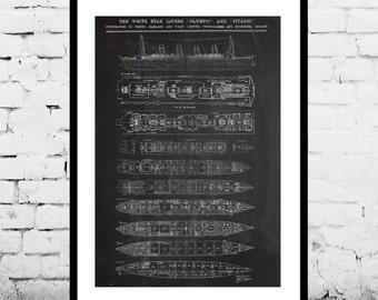 Titanic blueprint etsy malvernweather Image collections