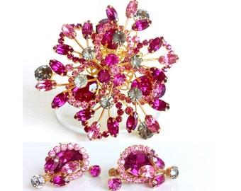Magenta Rhinestone Brooch & Earrings Set, Gold Demi Parure Signed Vendome, Pink Purple Grey Stones, Vintage 50s 60s Statement Jewelry Brooch