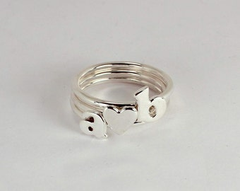 3 Stacking Rings, 2 Letters and 1 Heart, Sterling Silver, Made to Order