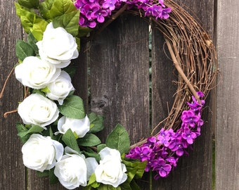 Spring Wreath, Grapevine Wreath w/White Roses, Purple Lilacs, Leaves, Spring Wreaths for Front Door, Summer Wreath, 18 Inch