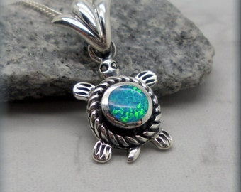 Blue Opal Turtle Necklace, Sea Turtle Necklace, Ocean Jewelry, Beach Necklace, Opal Jewelry, Opal Necklace, Tortoise, Sterling Silver