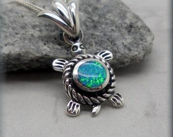 Blue Opal Turtle Necklace, Sea Turtle Necklace, Ocean Jewelry, Beach Necklace, Opal Jewelry, Opal Necklace, Tortoise, Sterling Silver