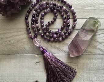 Amethyst Mala Necklace, 108 Beads, Hand Knotted Purple Goddess Mala, Prayer Beads