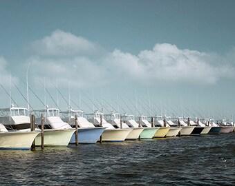 Fishing Boats Photography, Nautical Photo or Canvas Art, Ocean Print, Coastal Decor, Deep Sea Fishing Picture, Sea Art - Boats in the Harbor