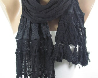 Tassel Scarf Black Scarf Cowl Scarf Boho Scarf  Fashion Accessories Holiday Fashion  Winter  scarf Valentines Gift For Mom For Women Holiday