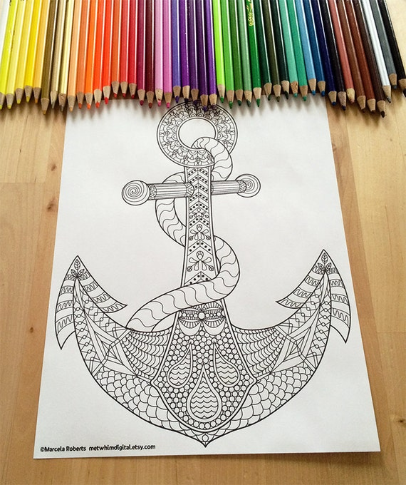 Anchor Coloring Page for Adults - Anchor Adult Coloring Page ...