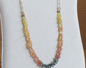 Beautiful Sapphires Necklace with Gold Filled Chain, Smokeylady54