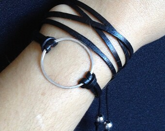 Good Karma Bracelet, Karma Jewelry, Leather & silver bracelet, leather wrap bracelets for women, Leather Circle Bracelet, Eternity bracelet