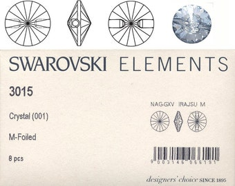 Swarovski 3015 crystal pointed back sew-on stone.  Price is for 5 button