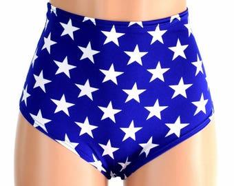 """Hohe Taille """"Siren"""" Hotpants in blau & weiß Sterne Druck Spandex schwärmen Festival Clubwear patriotische Superhelden ' USA - 154662"""