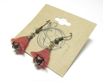 Red Swarovski Crystal, Brass and Lucite Flower Earrings