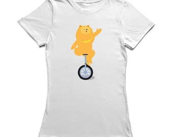 Cute Circus Dog Monocycle Graphic Women's T-shirt