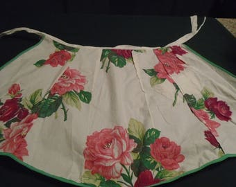 Vintage !950's Half Apron With Roses