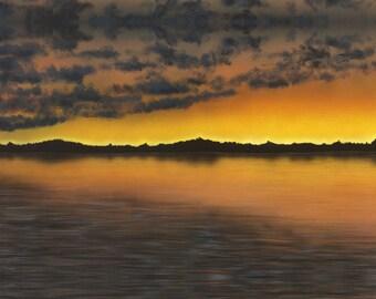 Colorful Lake Sunset Painting, Landscape Painting, Sunset Painting, Sunset Print, Landscape Print, Nature Painting, Yellow Orange Sunset