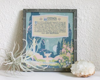Vintage Buzza Motto Mother Poem Framed 1923 | Mothers Day Gift Gift for Mom | Mother Earth | Art Deco Print | Art Deco Wall Decor | New Mom