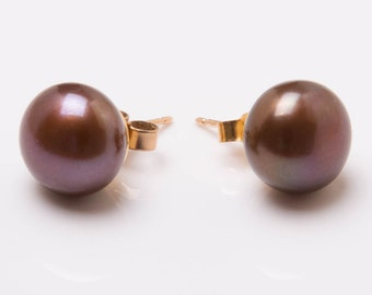 Vintage 9ct Yellow Gold & Chocolate Brown Cultured Pearl Earrings