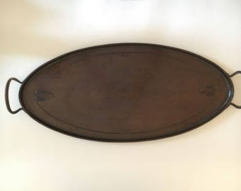 "Roycroft arts & crafts Oval serving tray hammered texture 21.75"" wide"