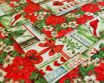 Red and Green Christmas Placemats with Cardinals, Holly, Poinsettia, Gold Metallic Accents, Happy Christmas, Holiday Table Decor, 2, 4 or 6