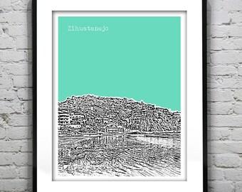 Zihuatanejo Beach Poster Art Skyline Guerrero Mexico Print