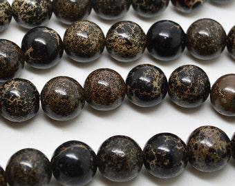 "16""  Black  Imperial Jasper  Round Beads--10mm , 8mm"