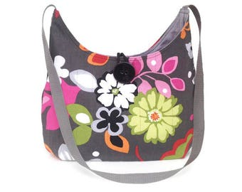 Hobo bag, Vegan purse, Hippie bag, Flower handbag, Crossbody bag, Boho bag, Cotton handbag, Fabric handbags, Fabric crossbody, Vegan bag