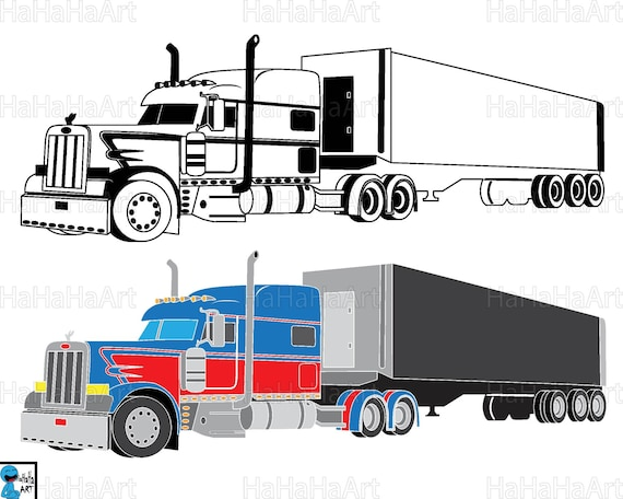 best truck 18 wheeler monogram clipart cutting files svg rh etsy com 18 wheeler clip art free clip art of 18 wheeler truck