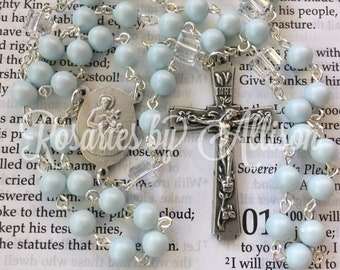 Pastel Blue Swarovski Crystal Pearl & Crystal Swarovski cube bead Rosary with silver plated St Gerard center and crucifix