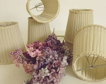 Set of 6 small lampshades, stiffel pleated lamp shades, antique, shabby, boudoir, french living, brocante ....CHARMANT!