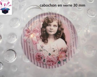 1 cabochon clear 30 mm for pendant or bag hook