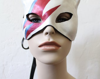 Kitty Stardust -  Leather Cat Mask- Hand Painted Tribute to David Bowie - To order