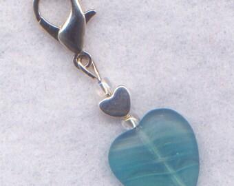 Ocean Heart Stitch Marker Clip Seaside Tropical Blue Heart Single /SM216