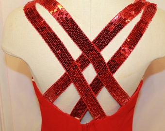 Gorgeous evening red dress with sequin straps