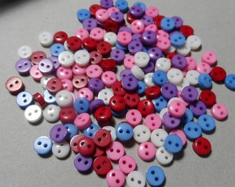 100 Buttons Acrylic mixed colors 2 holes 6mm