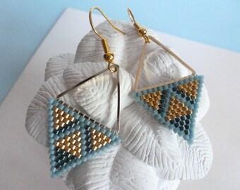 "Earrings ""triangle"" woven needle mikuyi, blue and gold beads. Brick stitch blue and gold triangle earrings."